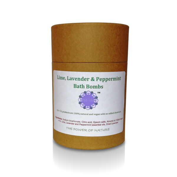 photo fo tub of Lime, Lavender & Peppermint bath bombs