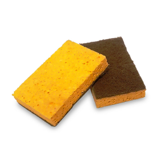 photo of Cellulose-Brown-Scourer-Sponge-with-Nut-Shell-Abrasion-Pad