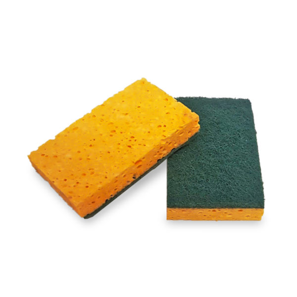 photo of Cellulose-Green-Scourer-Sponge-with-Recycled-Plastic-Abrasion-Pad-
