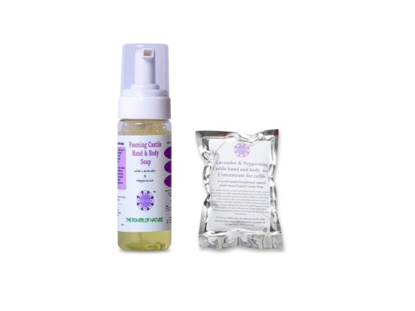 photo of eco-vie Lavender and Peppermint hand and body soap with refill sachet